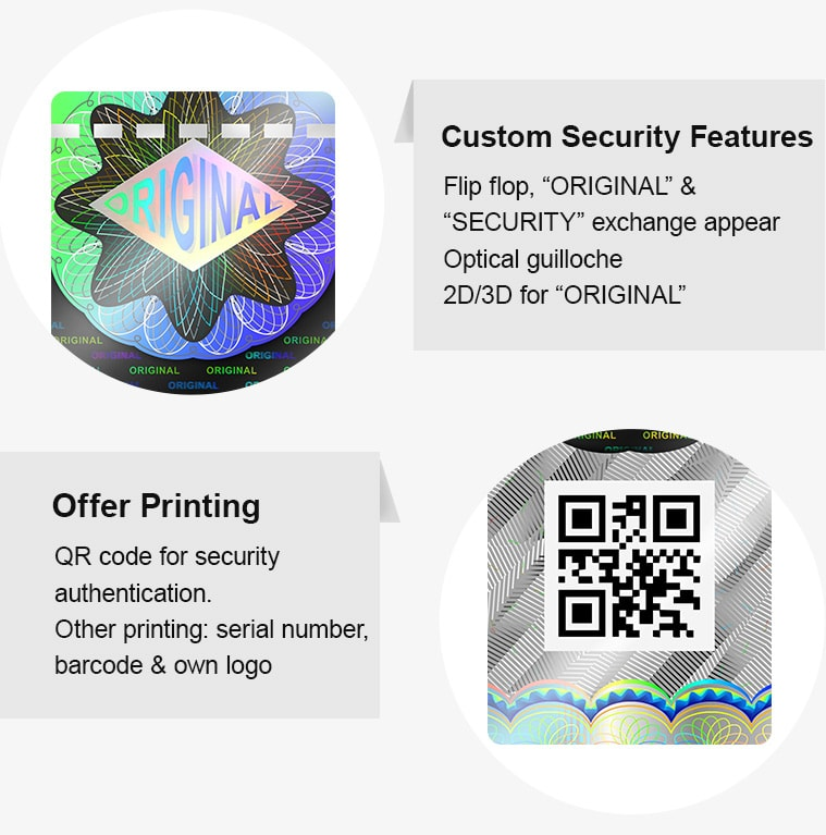 high security hologram tobacco duty stamp, offer QR code printing