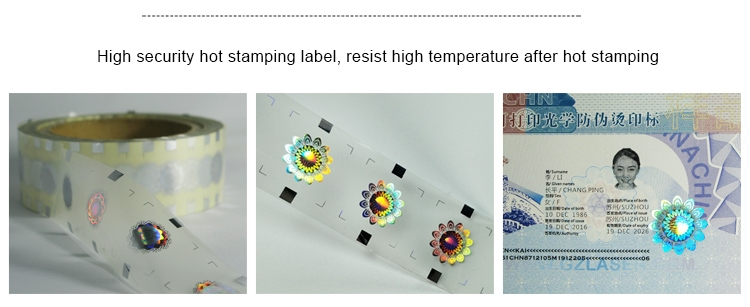 high-temperature resistance hologram hot stamping label