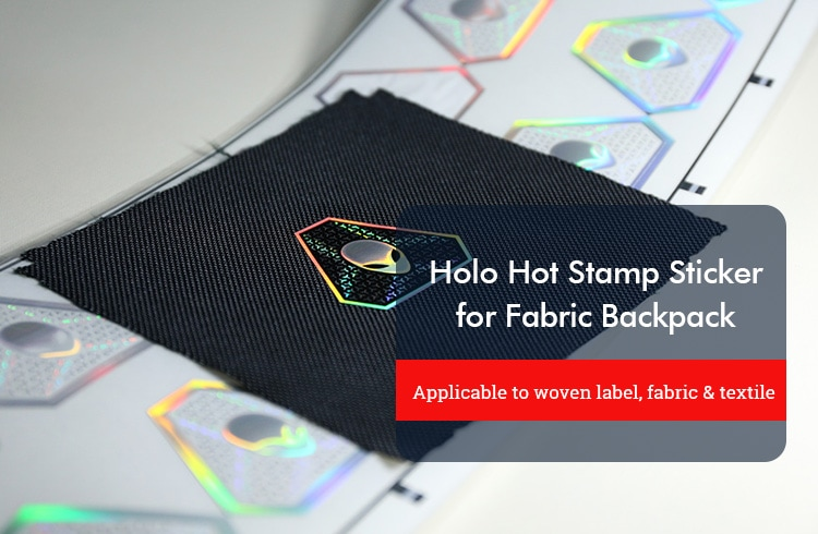 hologram hot stamp sticker for fabric material backpack