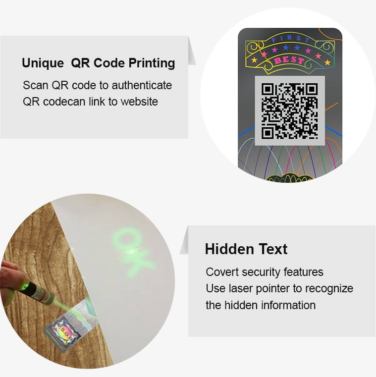 hologram tax stamp with qr cdoe printing