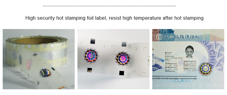 holographic hot stamping foil label for certificate security