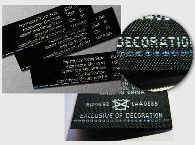 holographic security thread is knitted into woven label of brand clothing