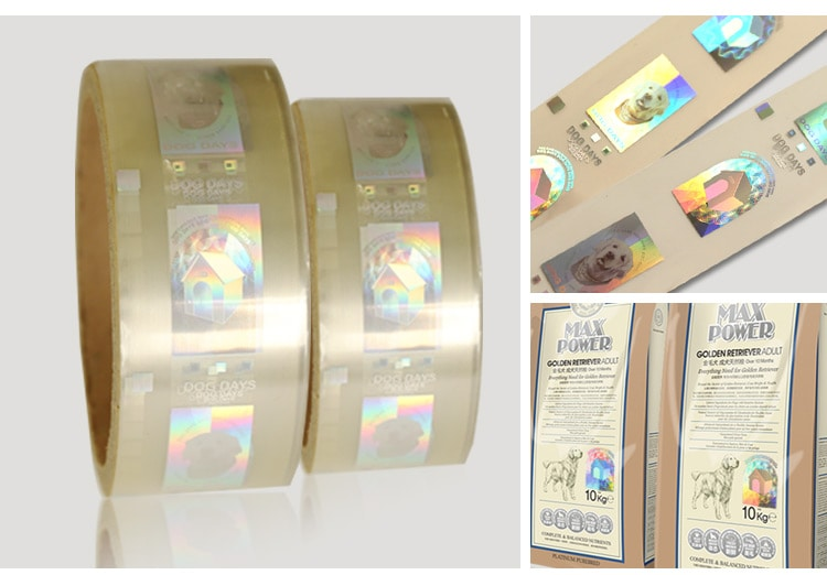 hot stamping holographic foil sticker for packaging bag