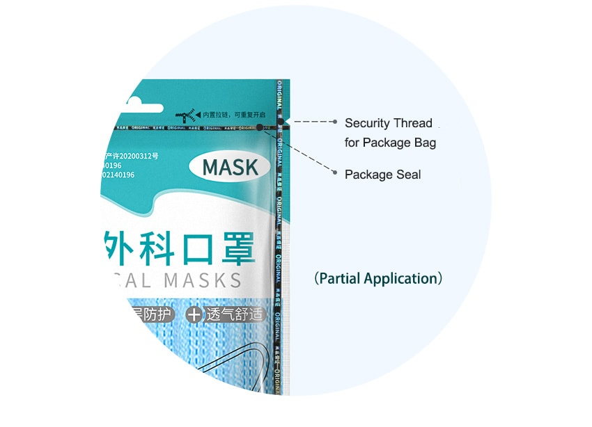 optical security thread for mask packaging bags and seal