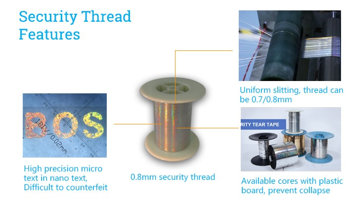 security features of golden holographic security thread