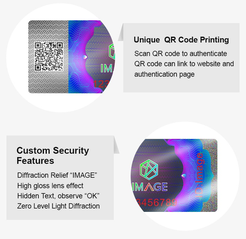 High security hologram farm products tax stamp with QR code printing