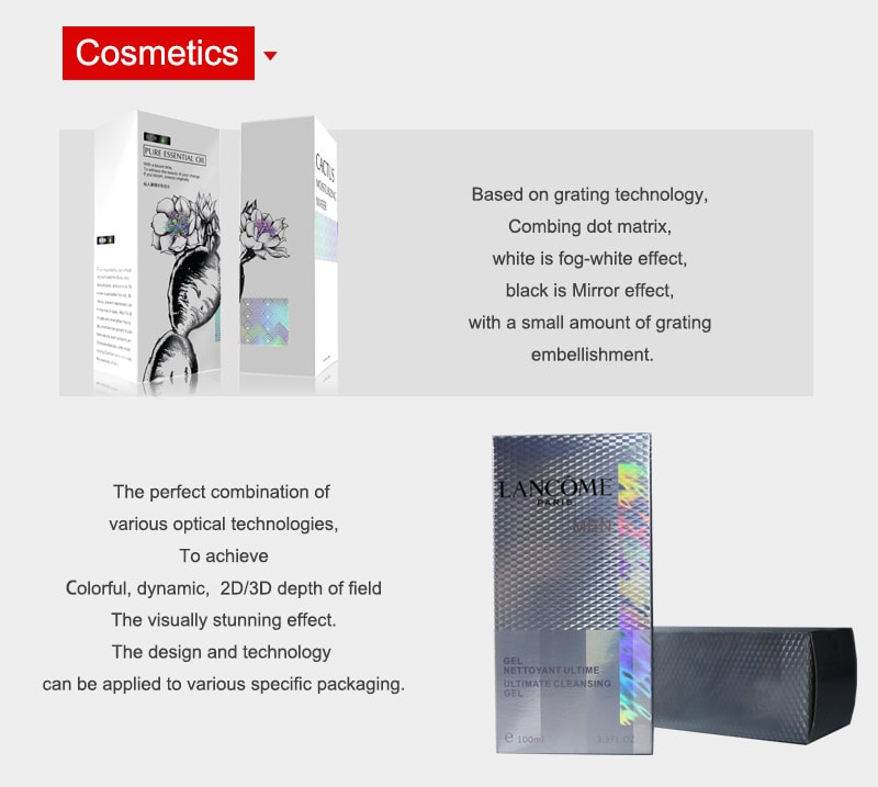 Shiny Optical Security Packaging for Cosmetics