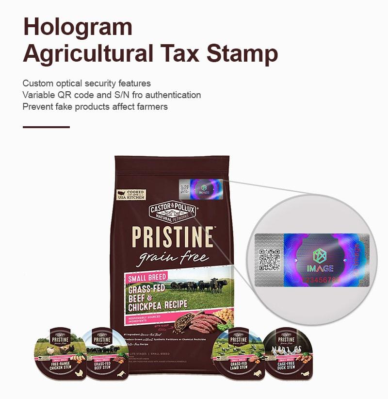 rectangular hologram agricultural tax stamp
