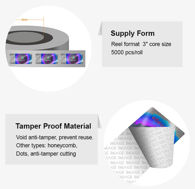 roll form holographic tax stamp with tamper proof feature