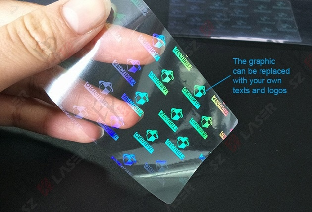 holographic overlay, customized with your logo and text