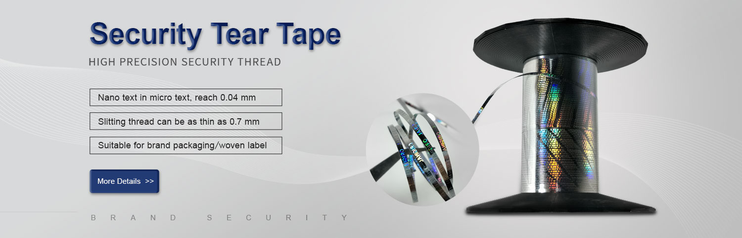 holographic security tear tape for brand packaging