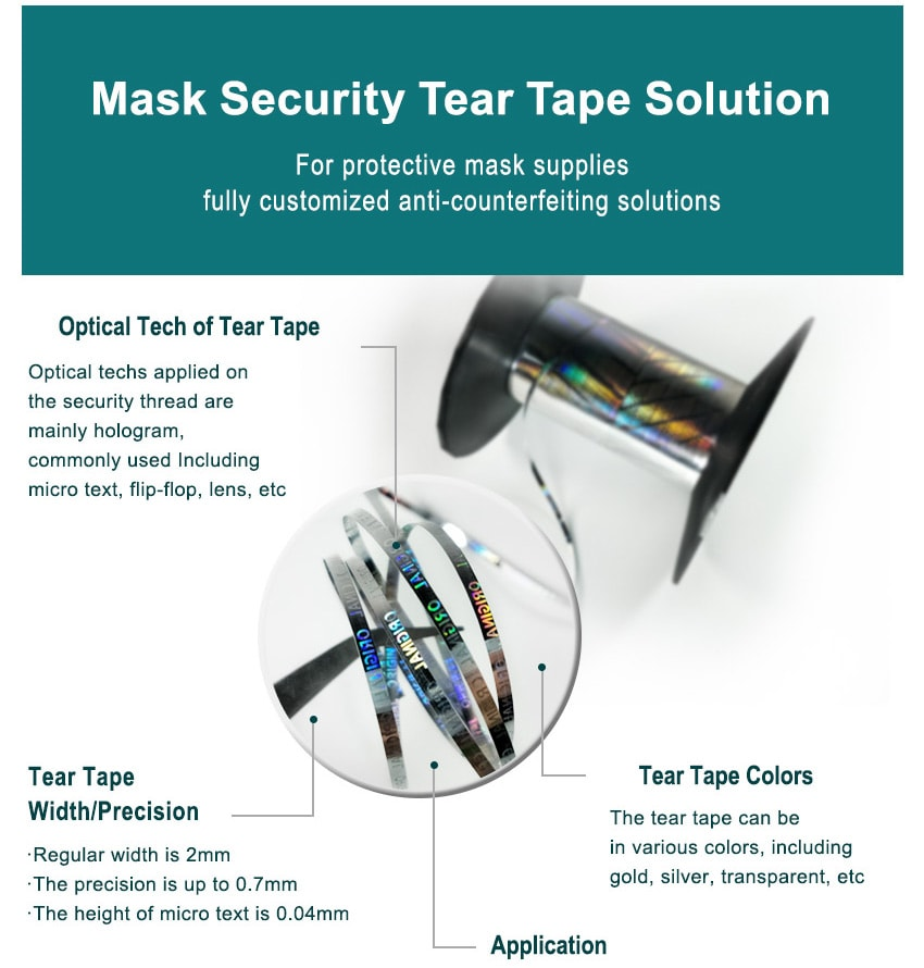 security technologies of holographic mask packaging tear tape