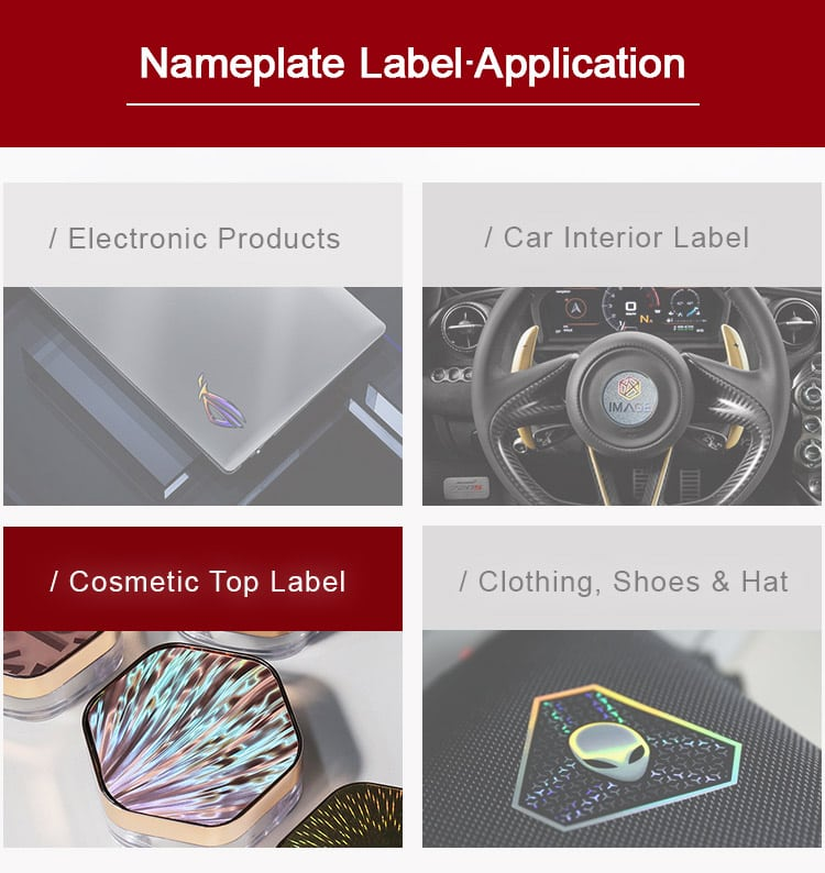 Optical Texture Nameplate Label Application