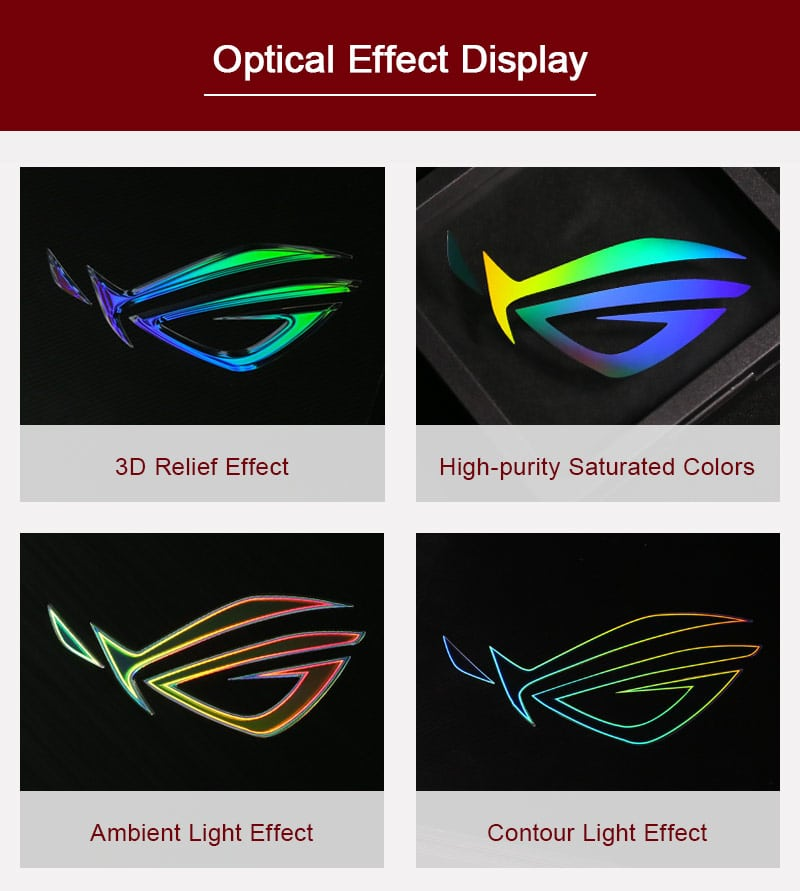 optical effect of computer nameplate label