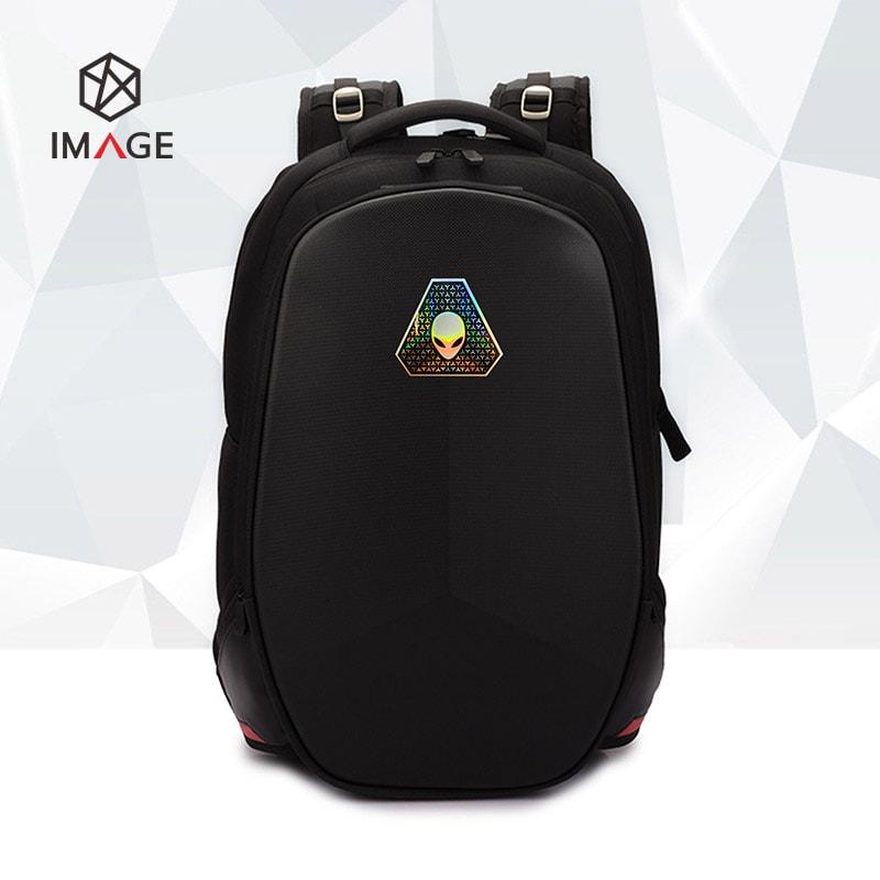 backpack metal texture label