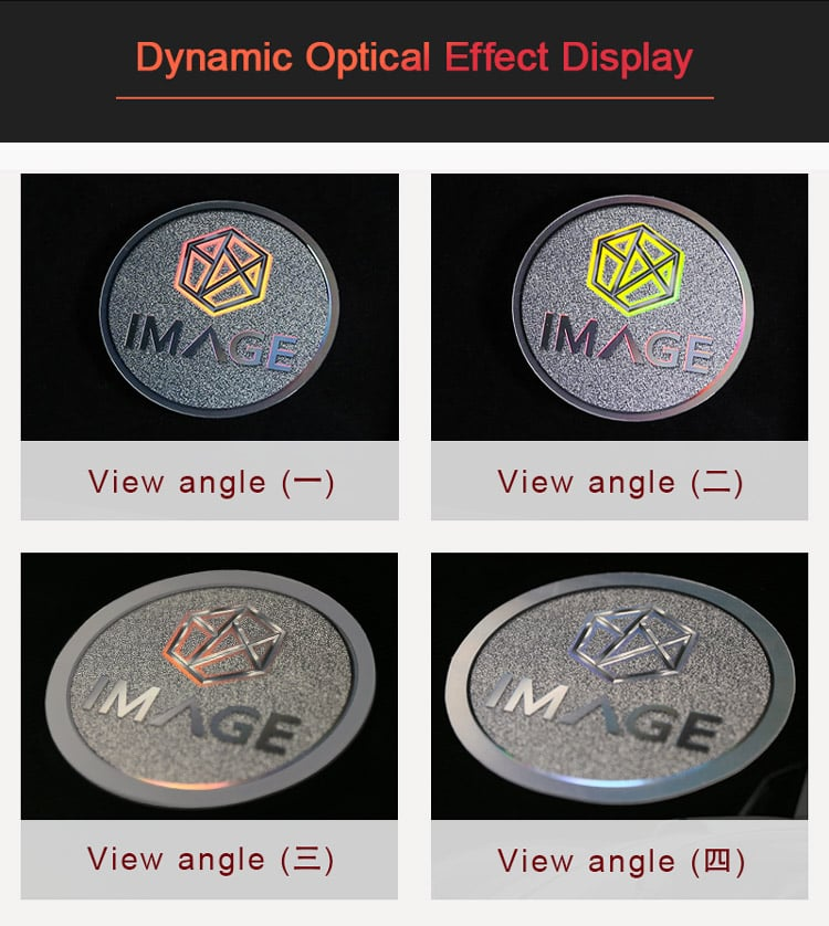 dynamic optical effect of automotive nameplate label