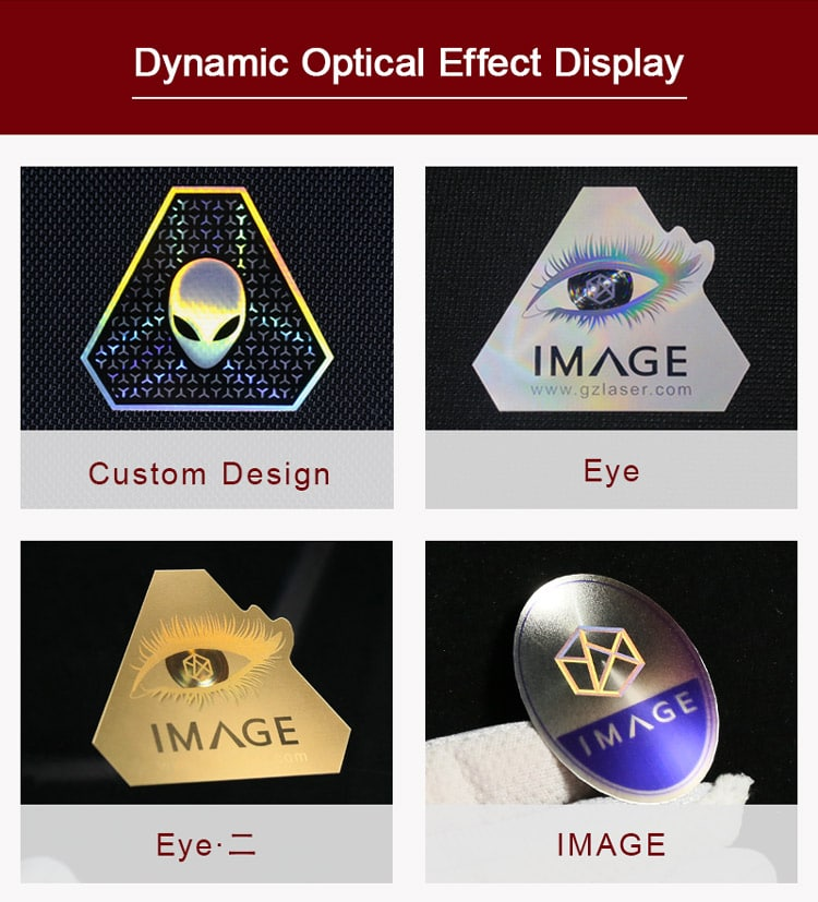 dynamic optical effect of metallic nameplate label