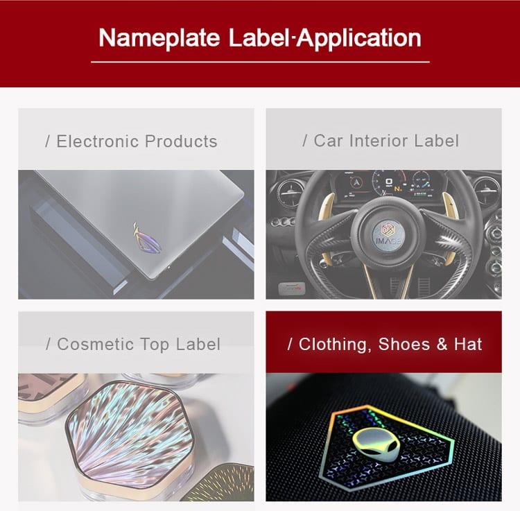 metallic nameplate label applications display