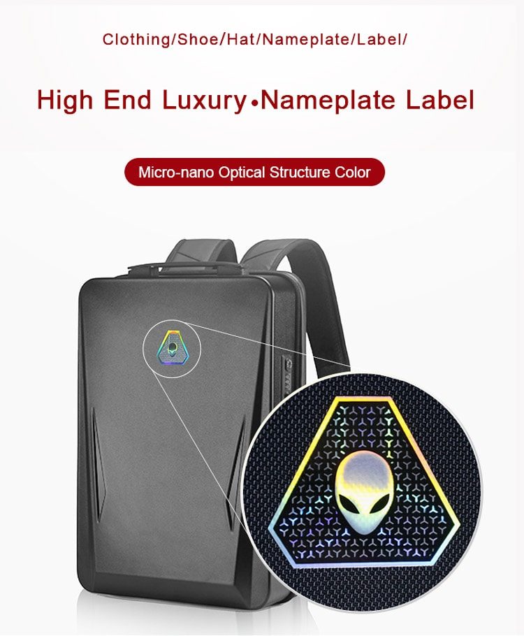optical metal texture label for backpack