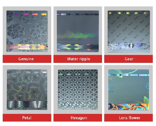 six background texture optical hologram stickers, accept personalizd printing