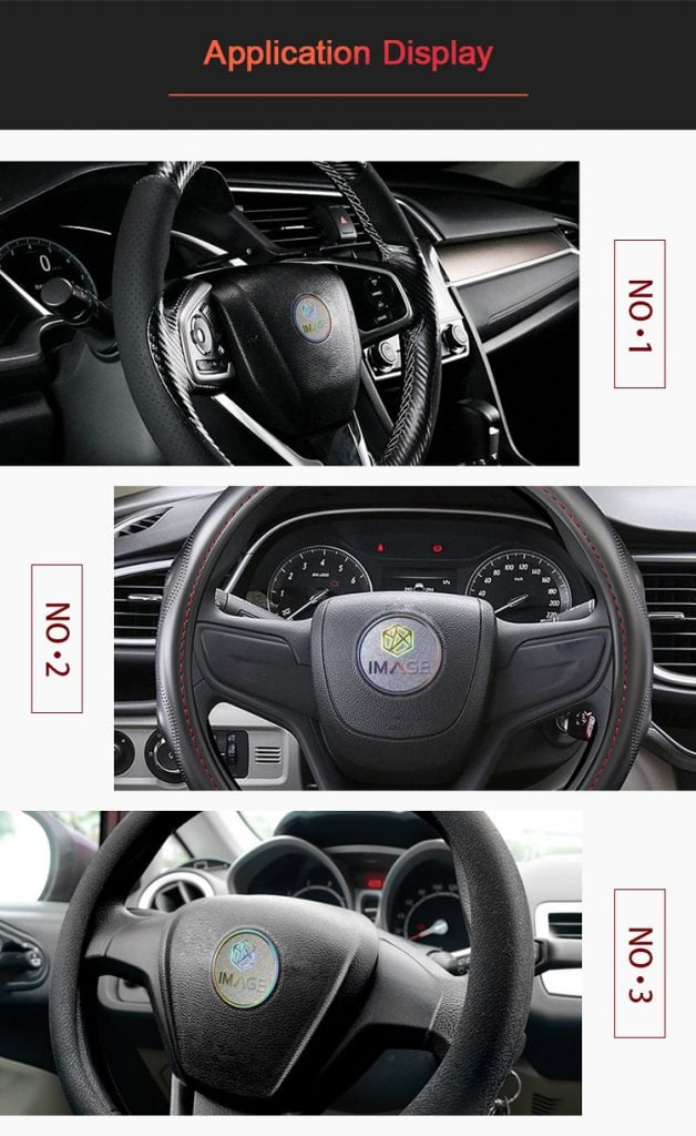 the appliation of Car steering wheel nameplate label