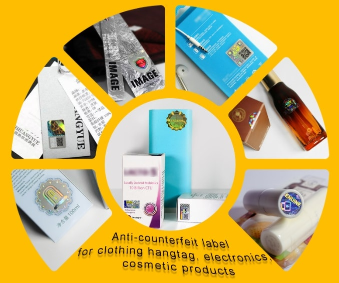 Anti-counterfeit label application for clothing hangtag, electronics and cosmetic products