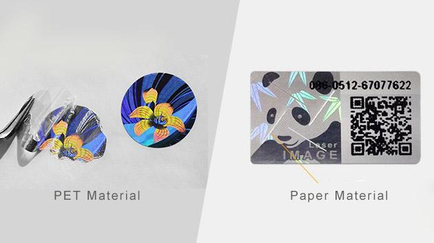 PET, Paper tamper evident hologram stickers