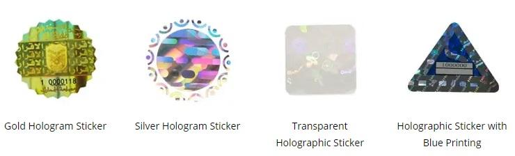 hologram labels with unique shapes, colors and sizes