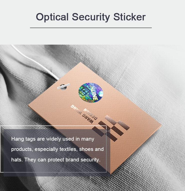 hologram security sticker for hang tags