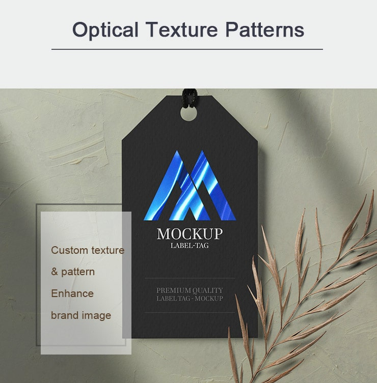 optical texture patterns, hot stamped on hang tags