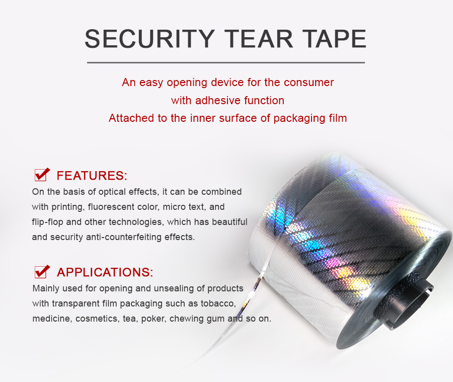 optical security tear tape, act as an easy opening device