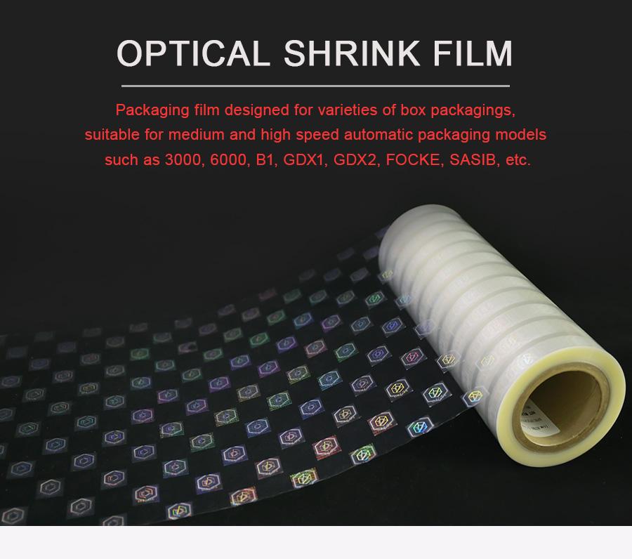 optical shrink film for kinds of box packaging