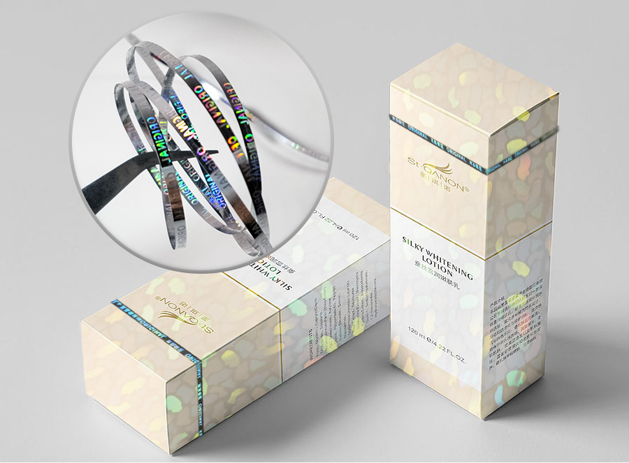 optical tear tape, attched to cosmetic box, easy open