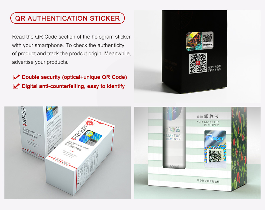 qr code authentication sticker for beauty prodcuts